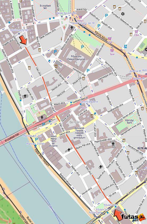 budapest utcái térkép Váci utca térkép   Budapest belvárosi utcája budapest utcái térkép