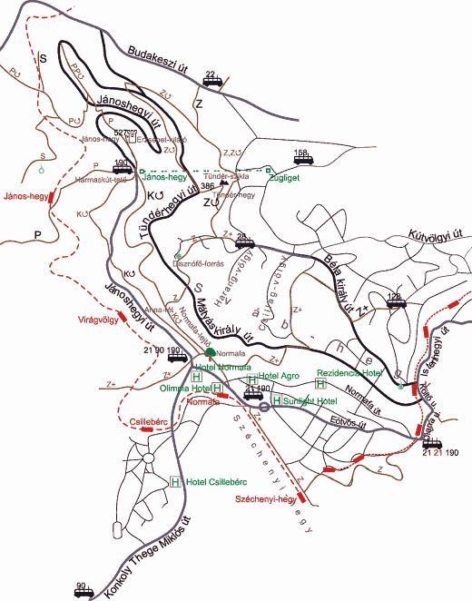 normafa térkép Normafa térkép, Turistautak, Túra és Futás útvonalak normafa térkép