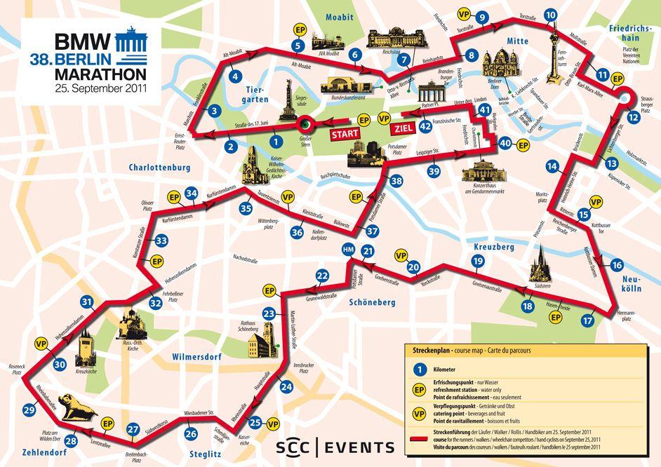 utvonal térkép Berlin Maraton BMW Berlin Marthon | maratoni futók utvonal térkép