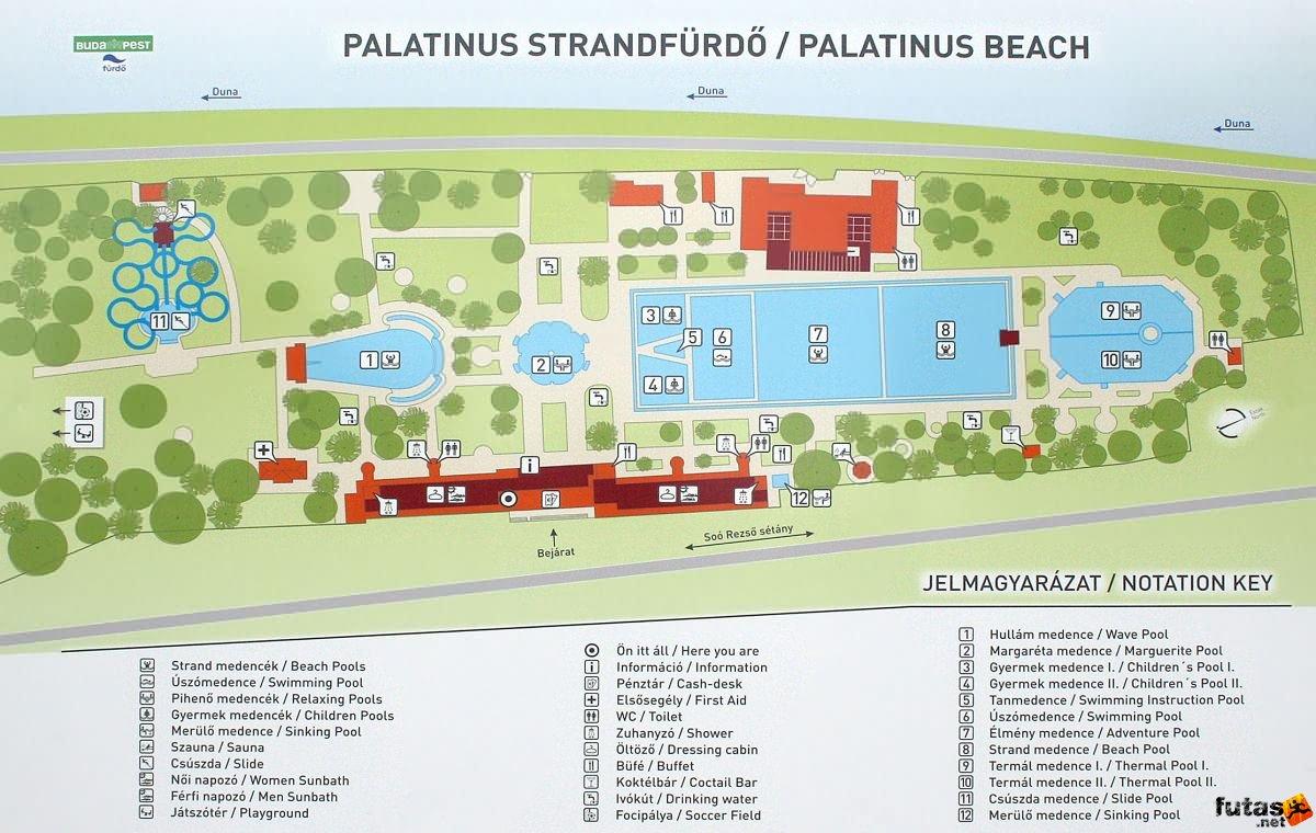 margitsziget térkép Palatinus Strand térképe