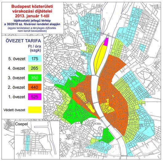 Budapest Parkolasi Zona Terkep Parkolas Arak Dijak Es Varakozas
