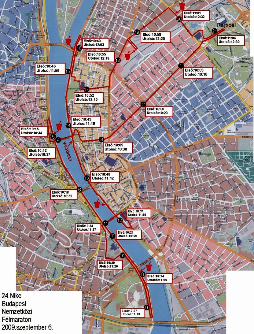 budapest útvonal térkép 24. Nike Budapest Nemzetközi Félmaraton Futók elhaladása és  budapest útvonal térkép