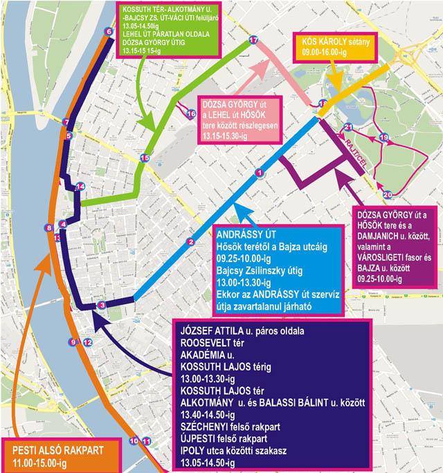Úlezárás és forgalomkorlátozás a budapesti Vivicittá futóverseny ideje alatt vasárnap
