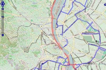 Budapest kerékpárutak kerékpáros térkép