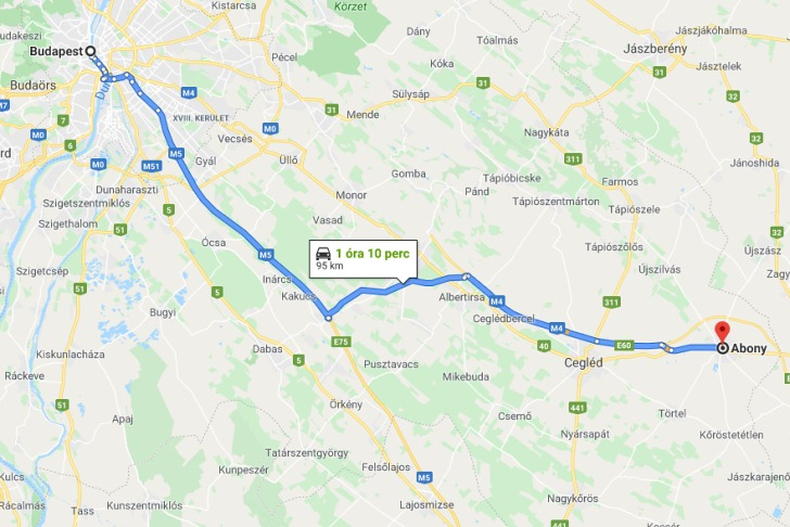 Abony Budapest Tavolsaga Terkepen Legvonalban Es Autoval