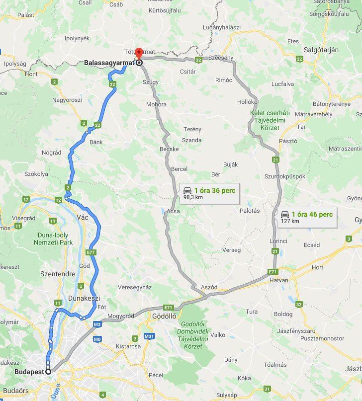 Balassagyarmat Budapest Tavolsaga Terkepen Legvonalban Es Autoval