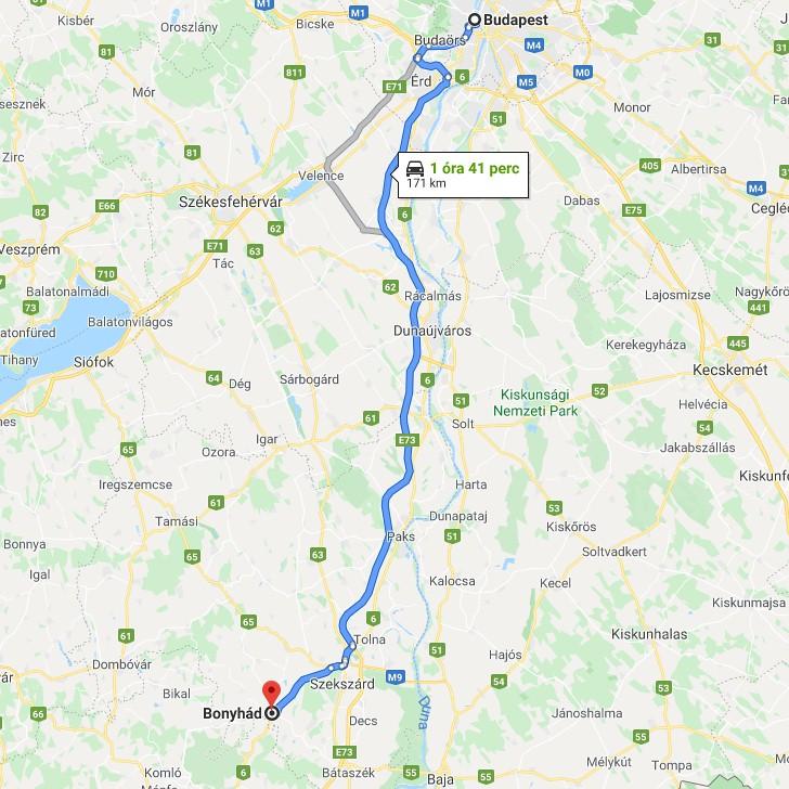 Bonyhad Budapest Tavolsaga Terkepen Legvonalban Es Autoval
