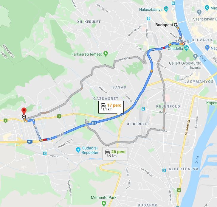 Budaors Budapest Tavolsaga Terkepen Legvonalban Es Autoval