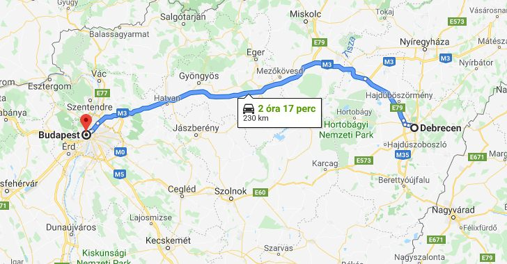 Debrecen Budapest Tavolsaga Terkepen Legvonalban Es Autoval