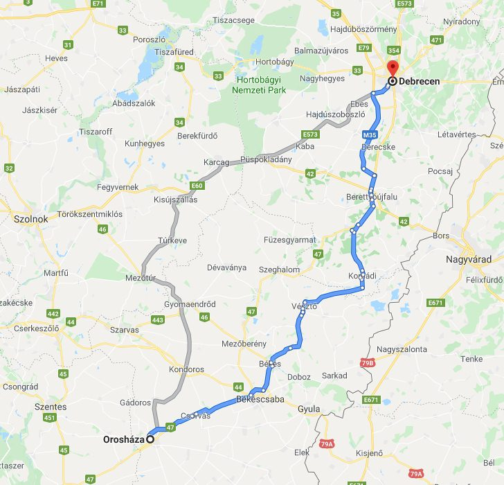 Debrecen Oroshaza Tavolsaga Autoval Kozlekedesi Terkep Europa Es