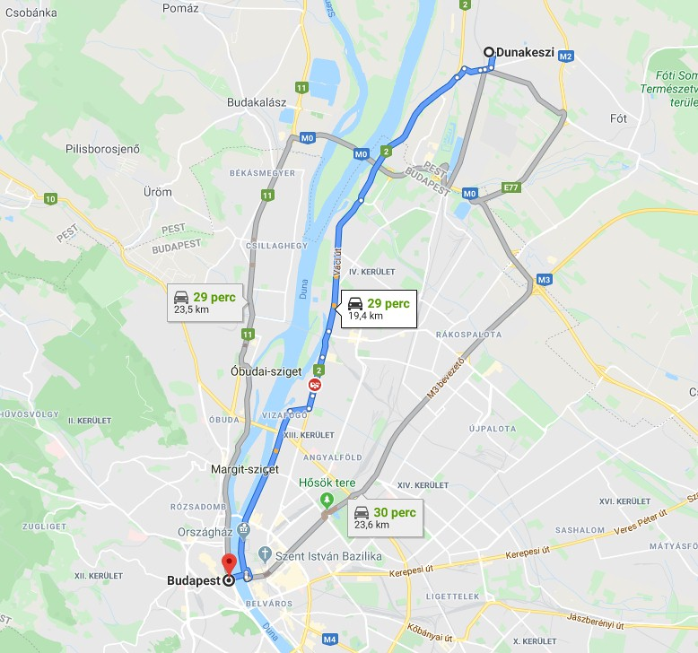 Dunakeszi Budapest Tavolsaga Terkepen Legvonalban Es Autoval