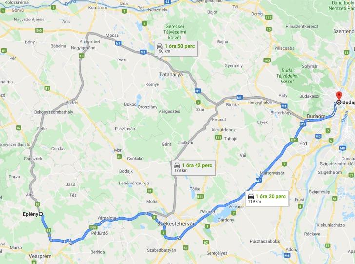 Epleny Budapest Tavolsaga Terkepen Legvonalban Es Autoval