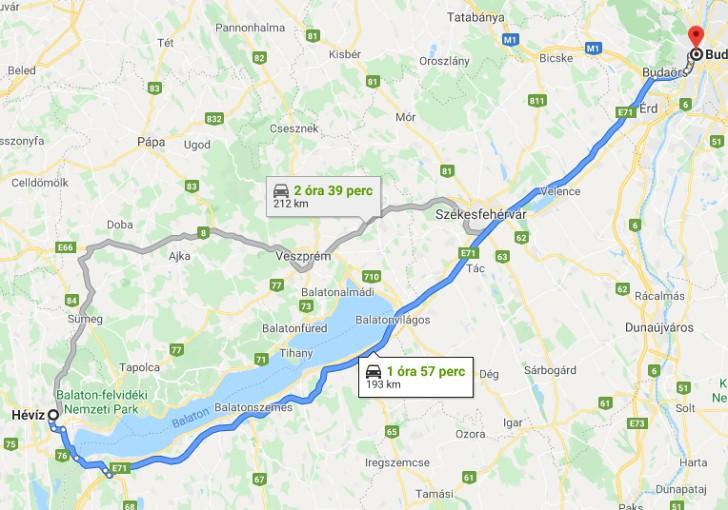 Heviz Budapest Tavolsaga Terkepen Legvonalban Es Autoval