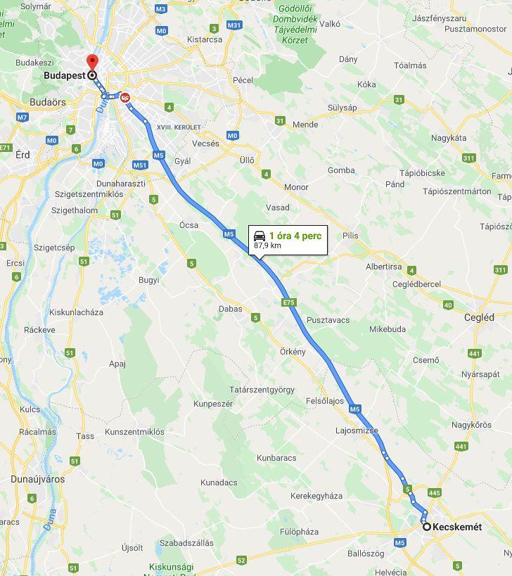 Kecskemet Budapest Tavolsaga Terkepen Legvonalban Es Autoval