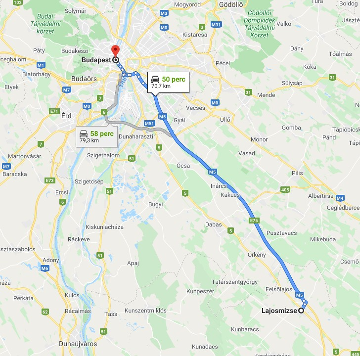 Lajosmizse Budapest Tavolsaga Terkepen Legvonalban Es Autoval