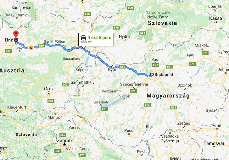 Linz Budapest Tavolsaga Terkepen Legvonalban Es Autoval