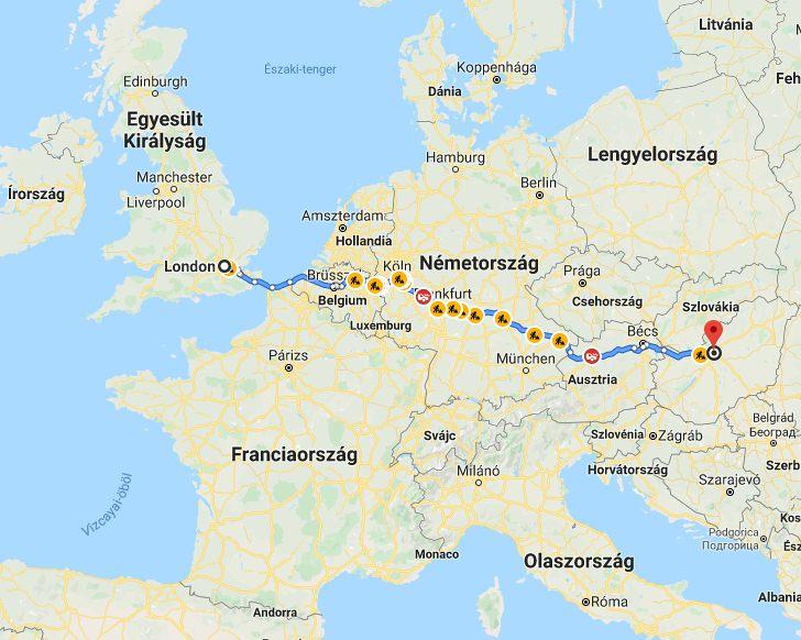 London Budapest Tavolsaga Terkepen Legvonalban Es Autoval