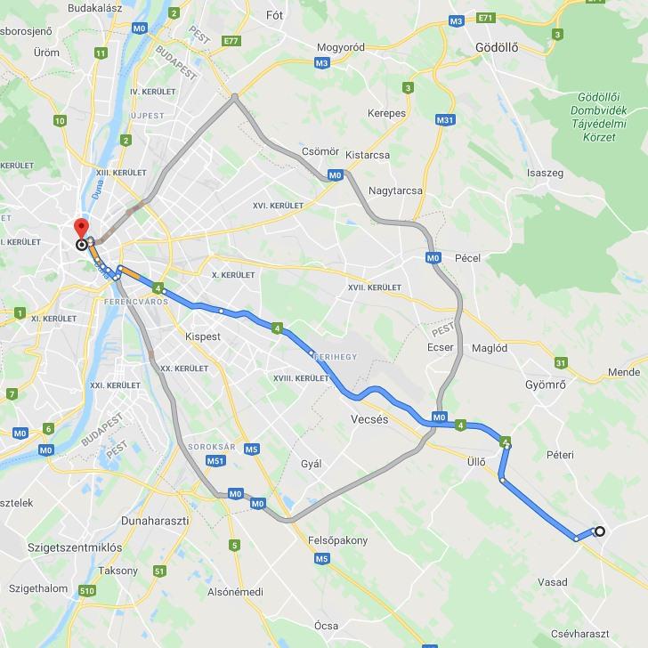 Monor Budapest Tavolsaga Terkepen Legvonalban Es Autoval