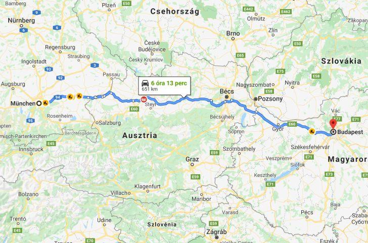Munchen Budapest Tavolsaga Autoval Kozlekedesi Terkep Europa Es