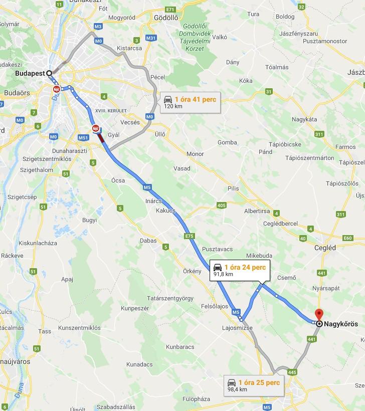 Nagykoros Budapest Tavolsaga Terkepen Legvonalban Es Autoval
