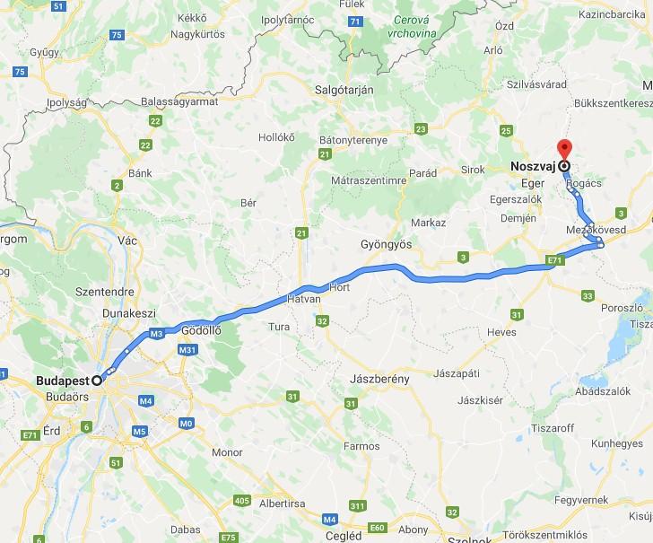 Noszvaj Budapest Tavolsaga Terkepen Legvonalban Es Autoval