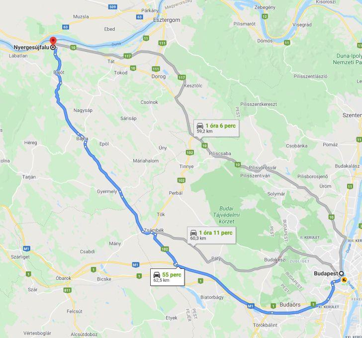 Nyergesujfalu Budapest Tavolsaga Terkepen Legvonalban Es Autoval