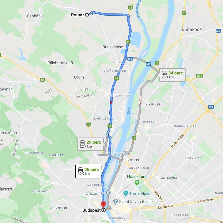 Pomaz Budapest Tavolsaga Terkepen Legvonalban Es Autoval