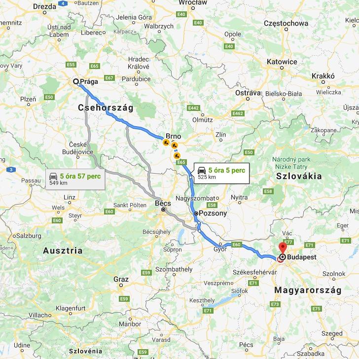 Praga Budapest Tavolsaga Autoval Kozlekedesi Terkep Europa Es