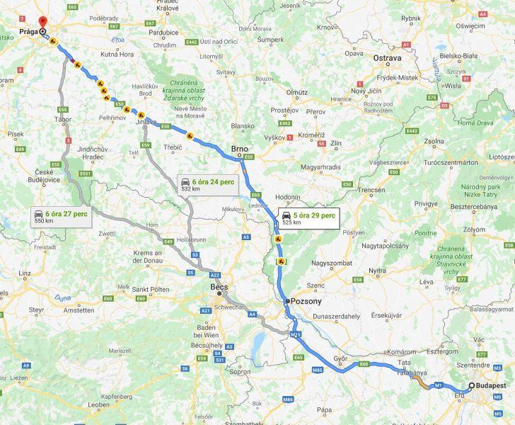 Praga Budapest Tavolsaga Terkepen Legvonalban Es Autoval