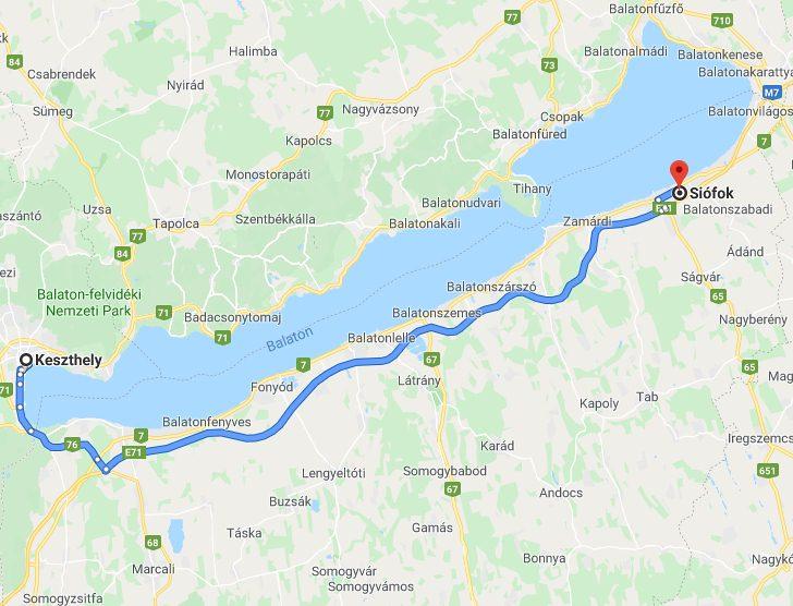 Siofok Keszthely Tavolsaga Autoval Kozlekedesi Terkep Europa Es