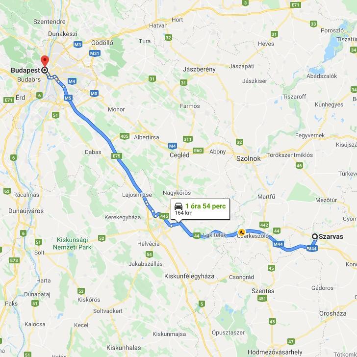 Szarvas Budapest Tavolsaga Terkepen Legvonalban Es Autoval