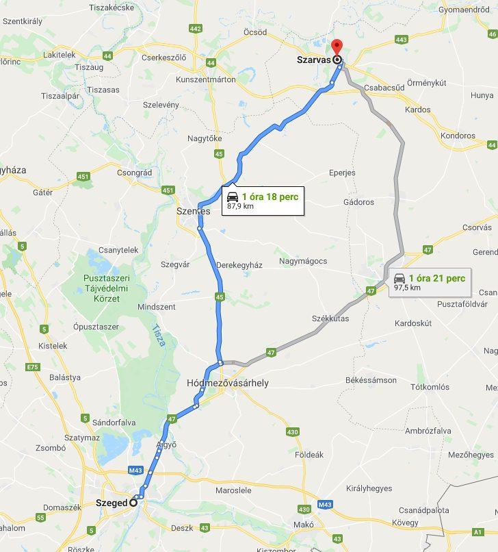 Szeged Szarvas Tavolsaga Autoval Kozlekedesi Terkep Europa Es