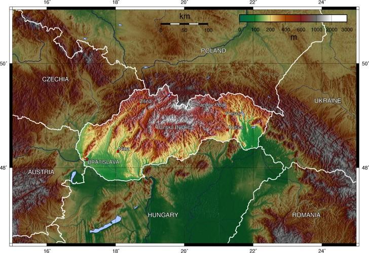 Térkép Domborzati
