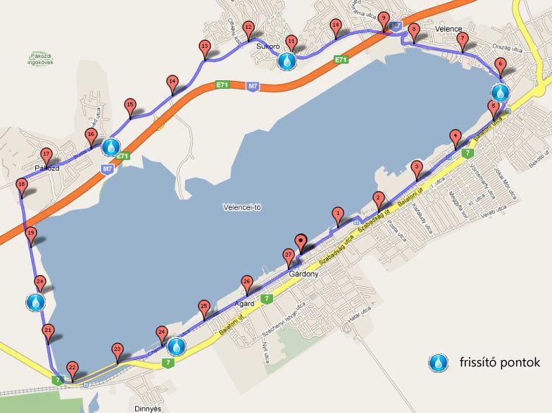 velencei tó térkép Tóparti futóparti futás Velencei tó útvonala velencei tó térkép
